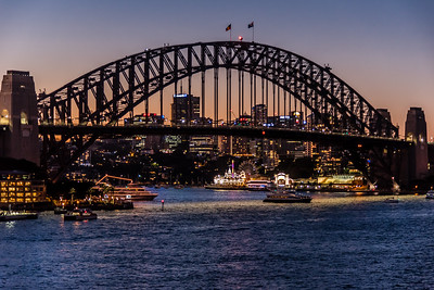Sydney Harbour Bridge at dusk.