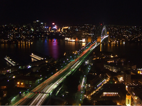 A night view of Sydney Harbour Bridge from the swanky Horizon Bar at the Shangri-La.