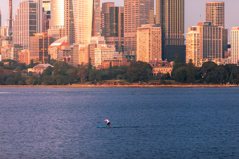 Stand up paddle boarder on Sydney Harbour