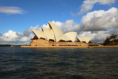 Opera house with hovering clouds