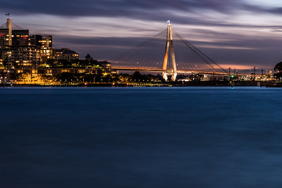 ANZAC Bridge at dusk.