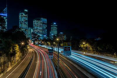 Light trails on M1 highway in Sydney.