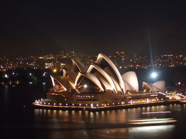 Looking back on the Sydney Opera House from the bridge. It was midnight in mid-winter, and I was wearing a short-sleeved shirt. Luckily, we had had a couple of drinks by this stage or I might have felt a little chilly...