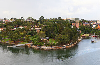 Houses in the park by the water
