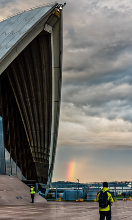 Sydney Opera House and rainbow.