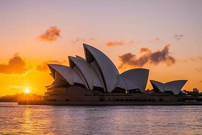 Sydney Opera House at sunrise.