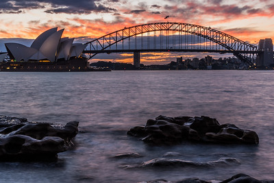 View of Sydney Opera House and Sydney Harbour Bridge.