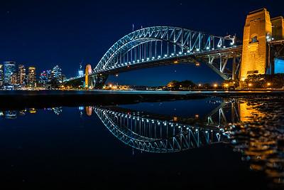 Reflection of Sydney Harbour bridge at night.