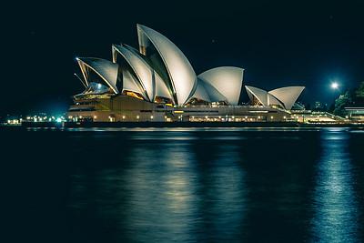 Sydney Opera House at night.