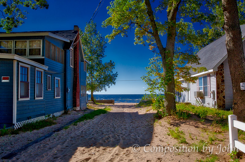 One of the many paths to the beach while walking the roads  in Sylvan Beach NY