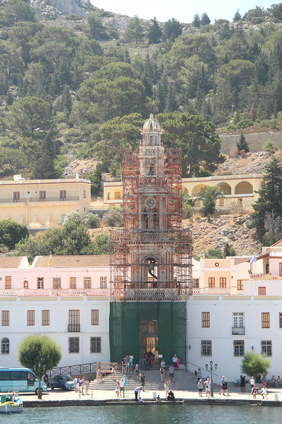 Panormitis monastery chapel...  covered by scaffolding like the Acropolis of Rhodes.