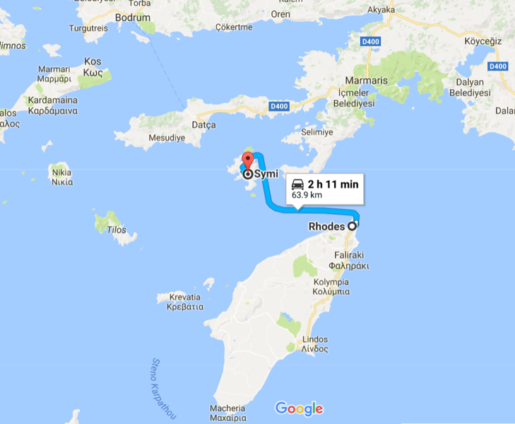 Here is the location of Symi relative to Rhodes.  Symi is quite small - ~23 square miles in size, and very close to Datca, Turkey (~14 miles).