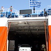 Getting off the ferry on Panormitis monastery.  It is possible to take cars on the ferry, as you can see here.