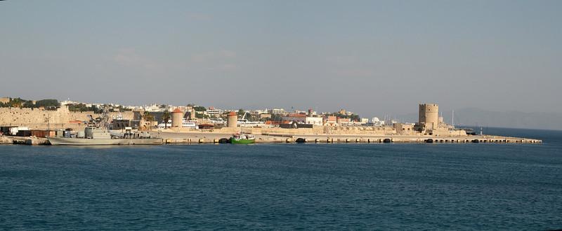 Mandraki Harbor on Rhodes Island.