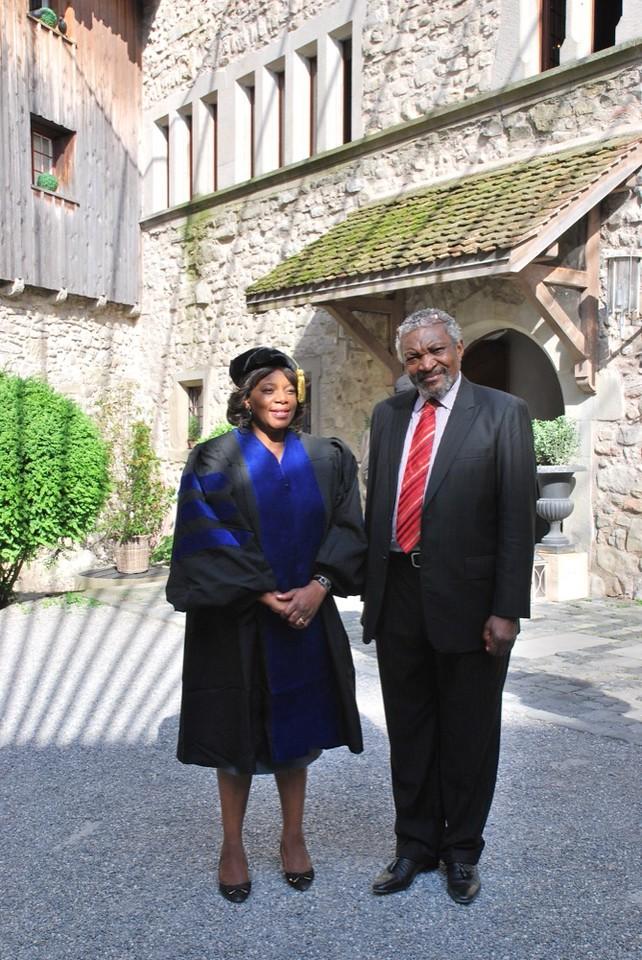 Dr. Liane Moosho Imakando and Doctoral student Mr. Patrick Kalifungwa.