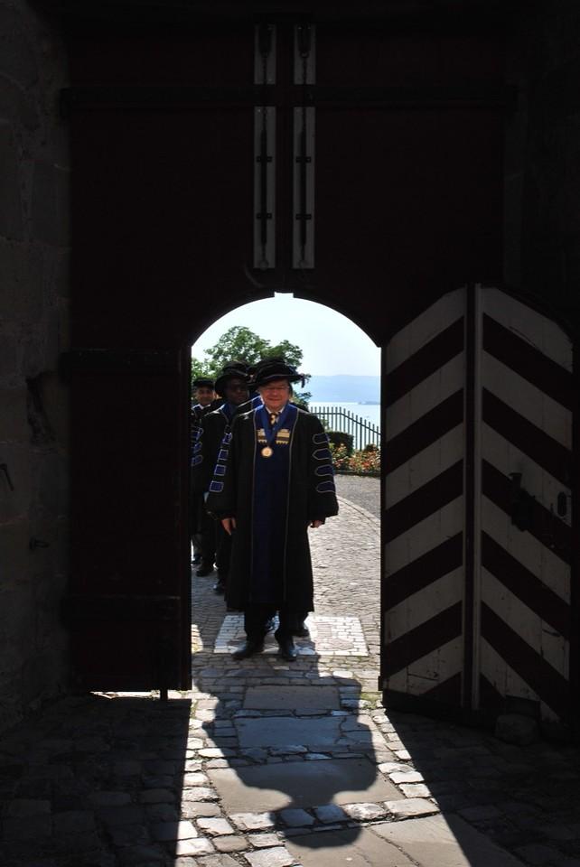 Through the main door.