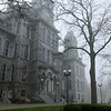 Hall of Languages, foggy morning