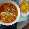 Encebollada - or fish soup - served with fried plantains. Super tasty, and the cheapest thing on the menu.