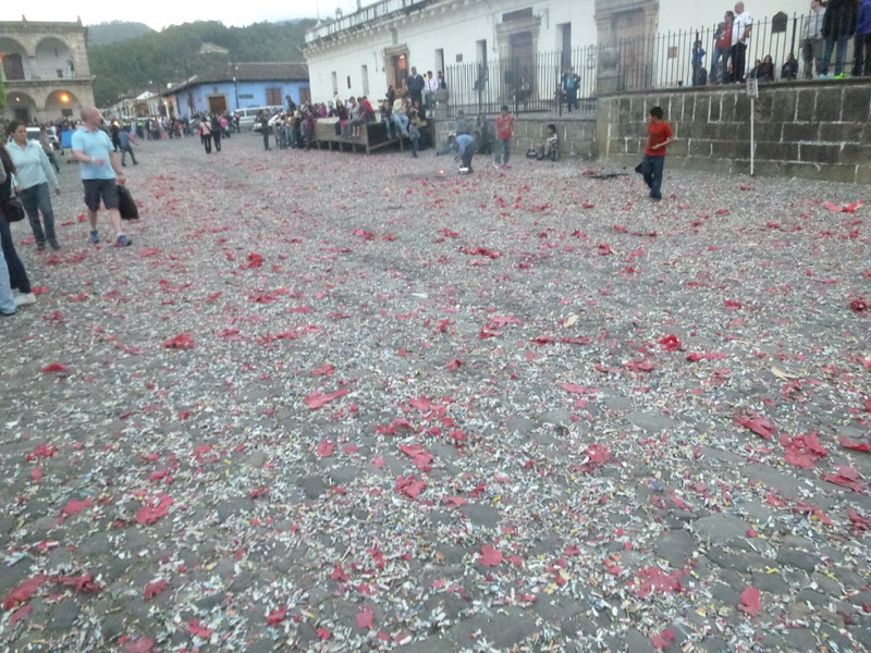 Aftermath of New Year's celebration. Paper from the firecrackers litter the streets.