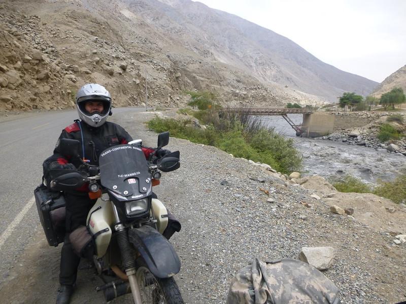 Taking a pause beside a dam on the Rio Santa, Canon del Pato.