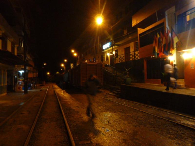 The train runs right through town.