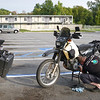 Bike work in the parking lot, Regal Inn, North Little Rock, AR
