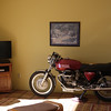 John put us up in Vail, Arizona for a few days.  Bikes can be furniture too.  Guzzi!