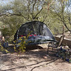 John's tent - with cool platform.