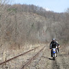 Alan along the unused RJ Corman RR tracks, Uhrichsville.  Jon just behind him.