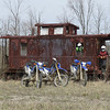 The WRRs in front of an abandoned caboose, near Holloway.  In window, me.  Jon on the deck.