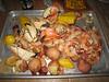 we had 8 lbs of collosal shrimp and 5 lbs of stone crabs...sausage, corn, jambalya, potatoes, brownies...and more!