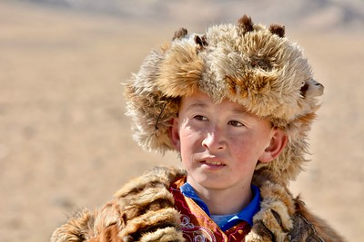 Young Kazakh eagle hunter