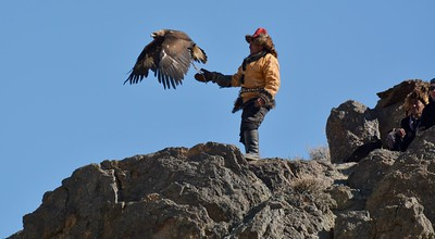 Kazakh Hunter releases his golden eagle
