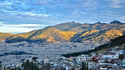 City skyline of Quito during sunrise