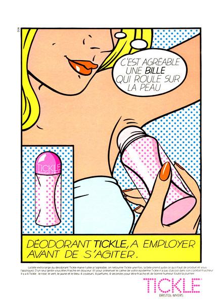 TICKLE deodorant 1978 France 'C'est agréable une bille qui roule sur la peau'