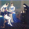 Napoleon greets supplicants with Josephine and Hortense.