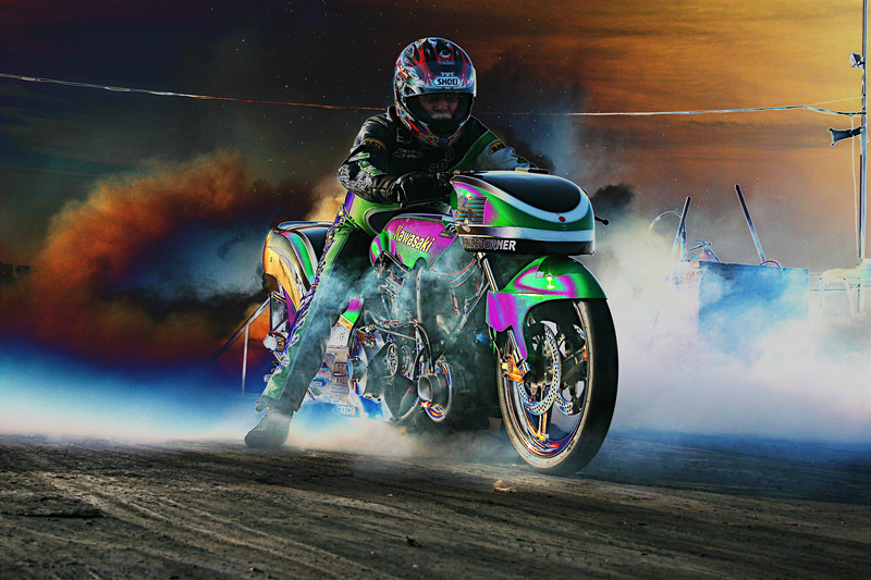 So I got a little carried away in photoshop.....However my intention was to highlight the sheer intensity of a Steve Rice Burnout!!