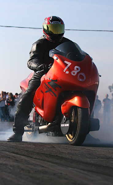 Mike Fields, Sr. Just before setting a New Sacramento Raceway E T Streetbike Record!!