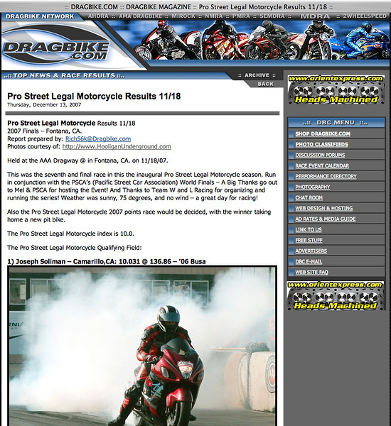 """12/13/07-For Full Report: <p><a href=""""http://www.dragbike.com/dbnews/anmviewer.asp?a=3640&z=14/"""" target=""""_new""""> CLICK HERE TO SEE</a></p>"""