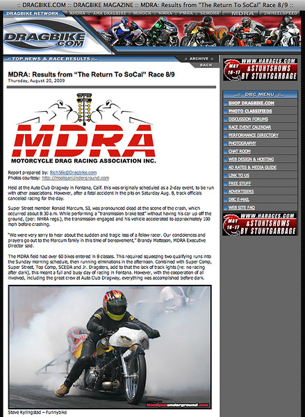 """8/20/09: To see the entire article:<p><a href=""""http://www.dragbike.com/dbnews/anmviewer.asp?a=5148&z=13/"""" target=""""_new""""> CLICK HERE TO SEE FULL ARTICLE!!</a></p> (includes the 'no respect' picture!!)"""