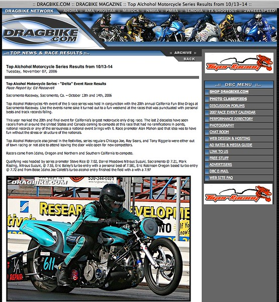 """11/07/06 -Heres a TAMX Race Report featuring Photos by HooliganUnderground:<p><a href=""""http://www.dragbike.com/dbnews/anmviewer.asp?a=2610&z=14/"""" target=""""_new""""> SEE FULL REPORT</a></p>"""
