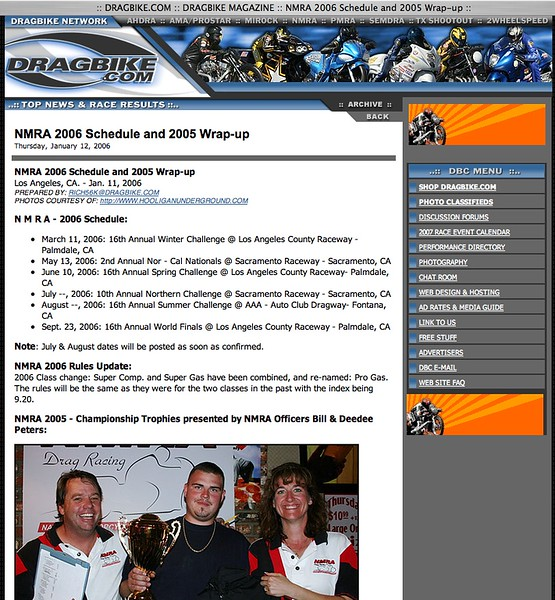 """1/12/06 - For Full Report: <p><a href=""""http://www.dragbike.com/dbnews/anmviewer.asp?a=1801&z=14/"""" target=""""_new""""> CLICK HERE TO SEE</a></p>"""