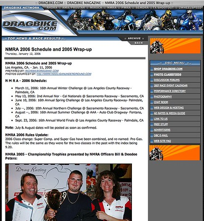 "1/12/06 - For Full Report: <p><a href=""http://www.dragbike.com/dbnews/anmviewer.asp?a=1801&z=14/"" target=""_new""> CLICK HERE TO SEE</a></p>"