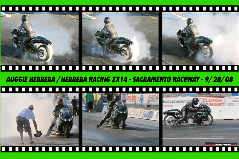 Auggie Herrera lights up the ZX14 at Sacramento Raceway