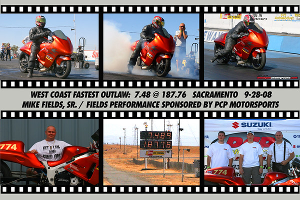 Mike Fields, Sr. sets the new West Coast record for Outlaw  at 7.48!!