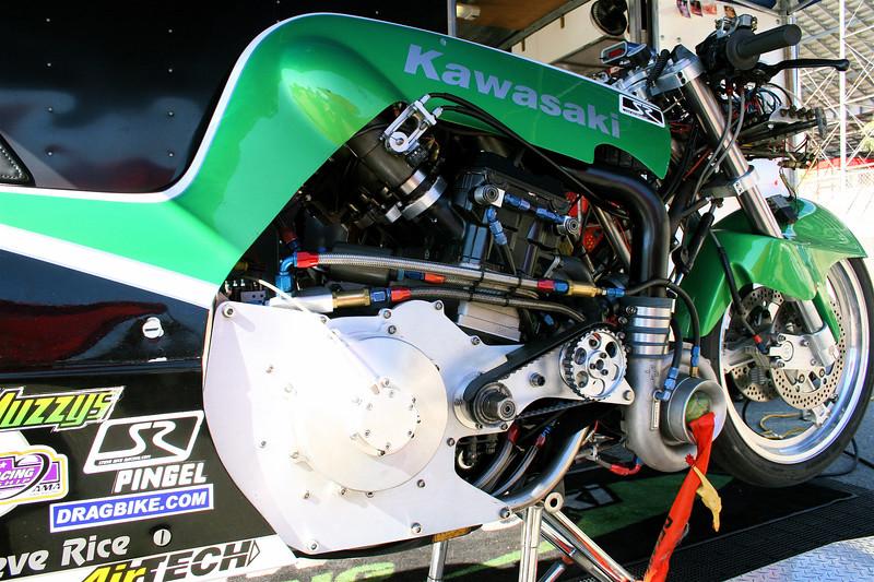 Steve Rice Racing.com's  Turbo Kawasaki up close