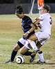 Casey Bolduc (24, CSU) fends off Lia Gordon (3, Winthrop). CSU lost to Winthrop (1-0) in a Penalty Kick Shootout.  November 3, 2011