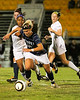 Morgann Wood (18, CSU) attempts to put some distance on Okina Crawley (26, Winthrop) during the Quarter Finals of the Big South Conference Chapionship. CSU lost to Winthrop (1-0) in a Penalty Kick Shootout.  November 3, 2011