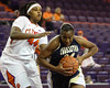 Lakeitha Alston (24, CSU) shows Clemson how it's done as she drives to the net past Shaniqua Pauldo (44, Clemson). Alston had 31 points and 10 rebounds as CSU upset Clemson 82-77. December 4, 2011