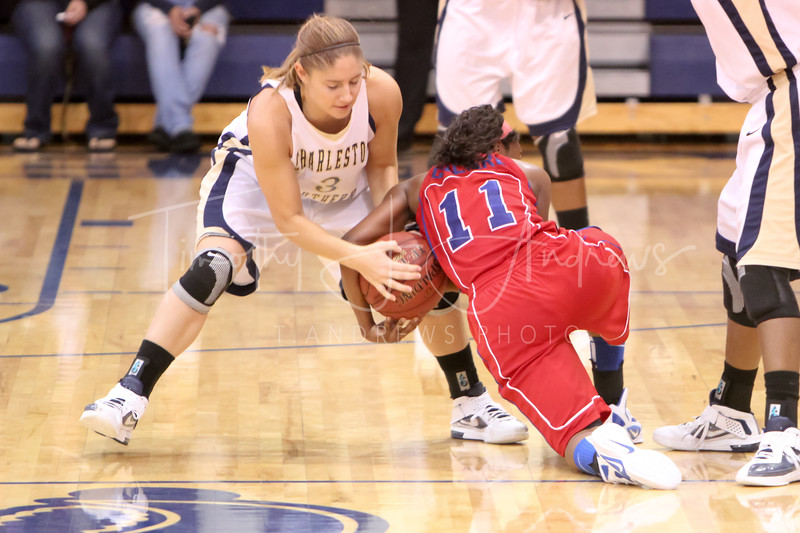 Erin Bratcher (3, CSU) steals the ball from Kia Gilliard (11, Bluefield College). CSU beat Bluefield, 81-43.